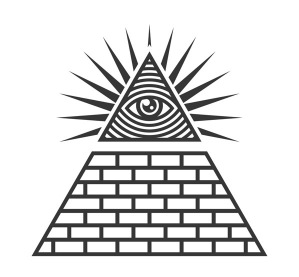 Masonic illuminati symbols eye in triangle sign vector 21865778