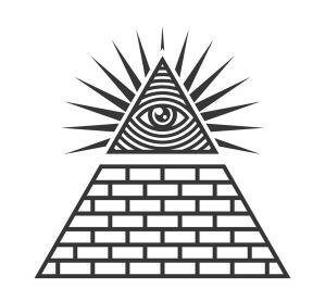 Masonic illuminati symbols eye in triangle sign vector 21865778